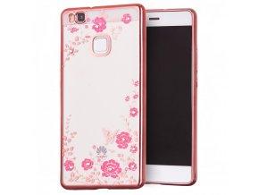 Rozkvetlý TPU kryt na Huawei P9 Lite růžový 1