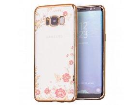 Rozkvetlý TPU kryt na Samsung Galaxy S8 Plus zlatý 1