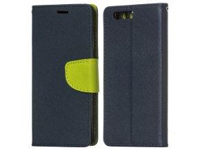 PU kožené pouzdro na Huawei Honor 9 tmavě modré