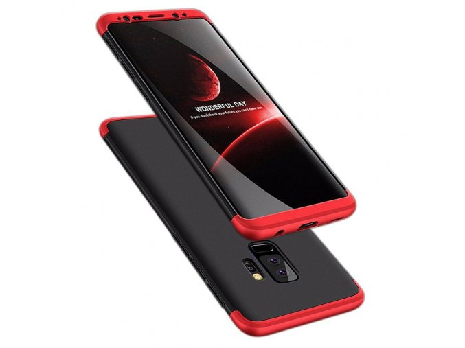360 oboustranný kryt na Samsung Galaxy S9 Plus červenočerný 1