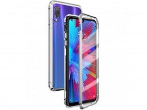 Mágneses kétoldalas védőtok iPhone SE 2020 / iPhone 8 / iPhone 7 (Edzett üveg nélkül) - ezüst