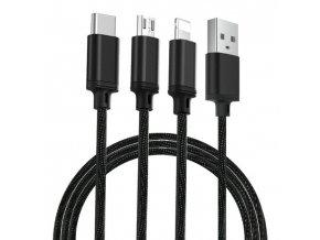eng pl Remax Agile 3in1 RC 131th Nylon Braided USB micro USB Lightning USB C Cable 2 8A 1m black PD B31th black 54765 1