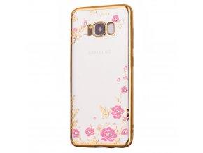 Květinový kryt na Samsung Galaxy S8 zlatý