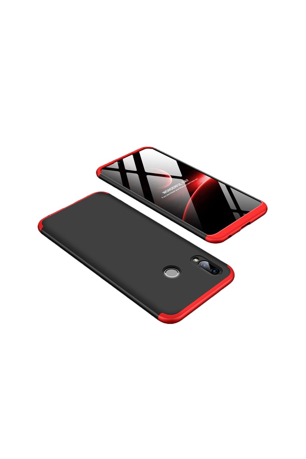 eng pl 360 Protection Front and Back Case Full Body Cover Huawei Honor Play black red 45183 1