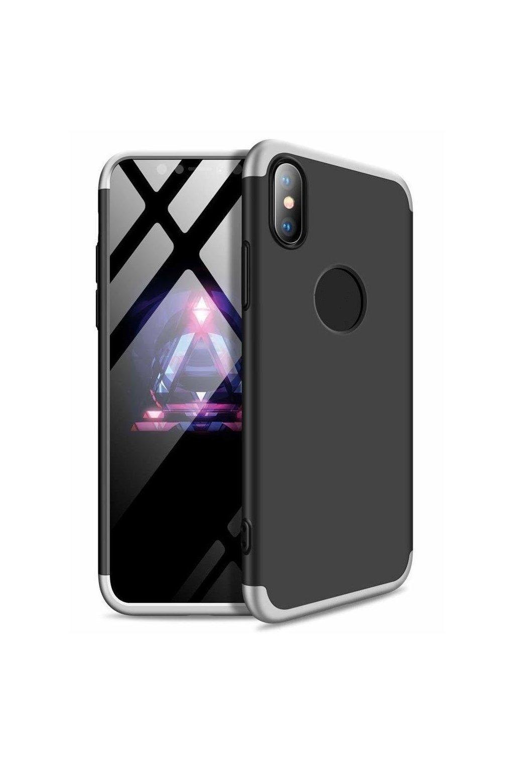 360 obojstranný kryt na iPhone XR - Strieborno-čierny