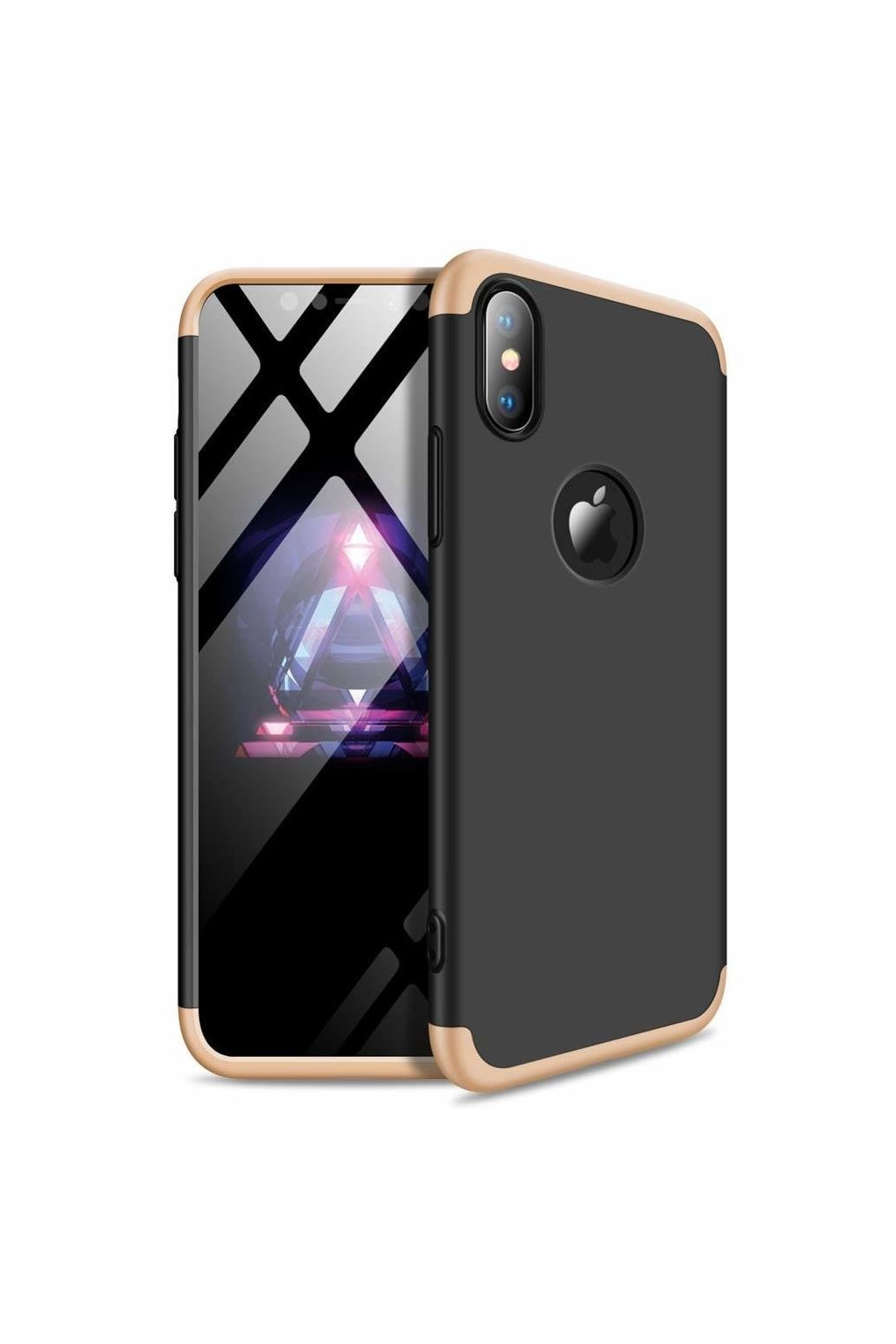 eng pl 360 Protection Front and Back Case Full Body Cover iPhone XR black gold logo hole 45690 1