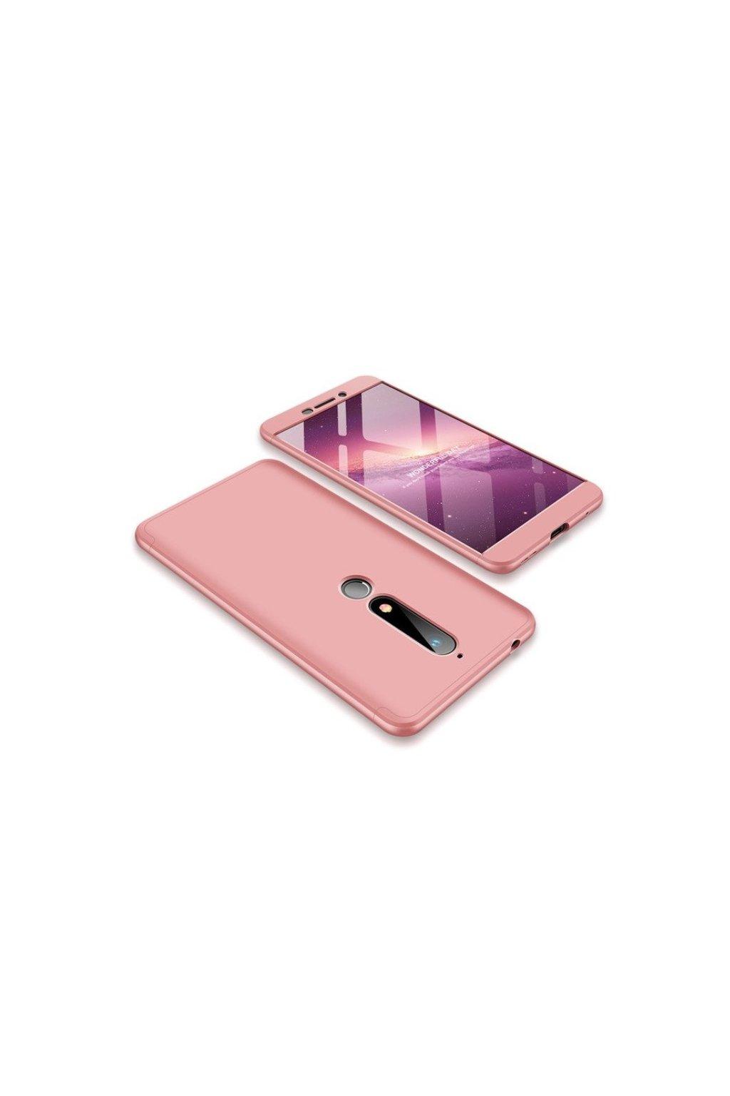 oboustranný kryt 360 na Nokia 6.1 růžový tit