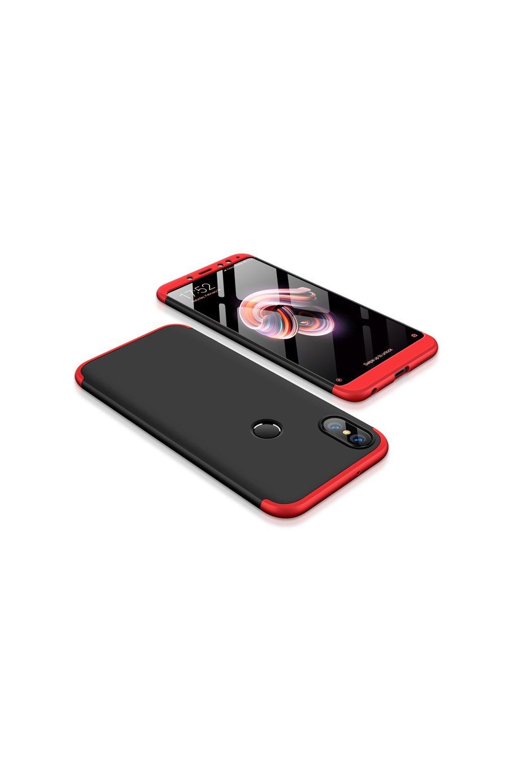 360 oboustranný kryt na Xiaomi redi Note 5 červeno černý