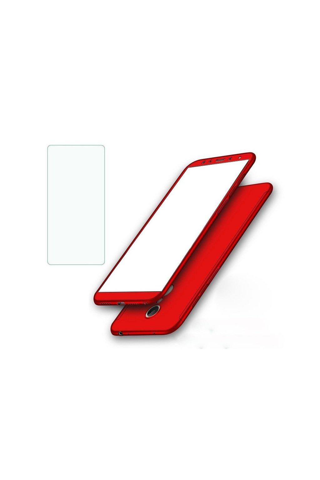 360 obojstranný kryt s TVRDENÝM SKLOM na Samsung Galaxy A8 2018 - červený