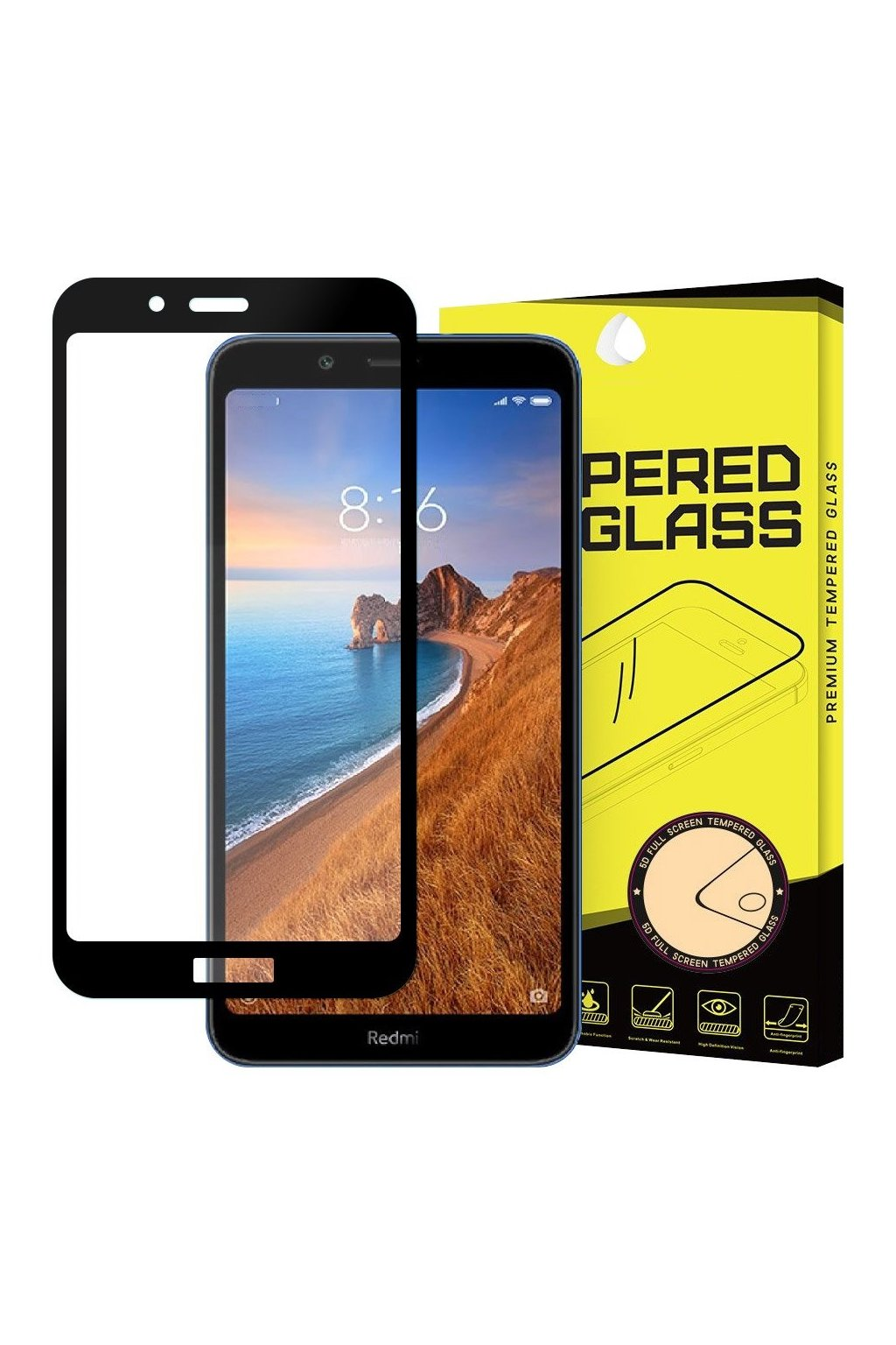 eng pl Wozinsky Tempered Glass Full Glue Super Tough Screen Protector Full Coveraged with Frame Case Friendly for Xiaomi Redmi 7A black 51661 1