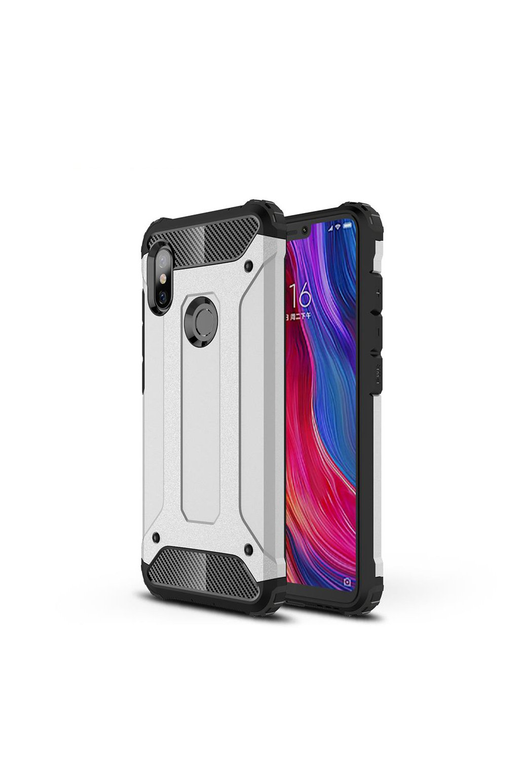 eng pl Hybrid Armor Case Tough Rugged Cover for Xiaomi Redmi Note 6 Pro silver 46239 8