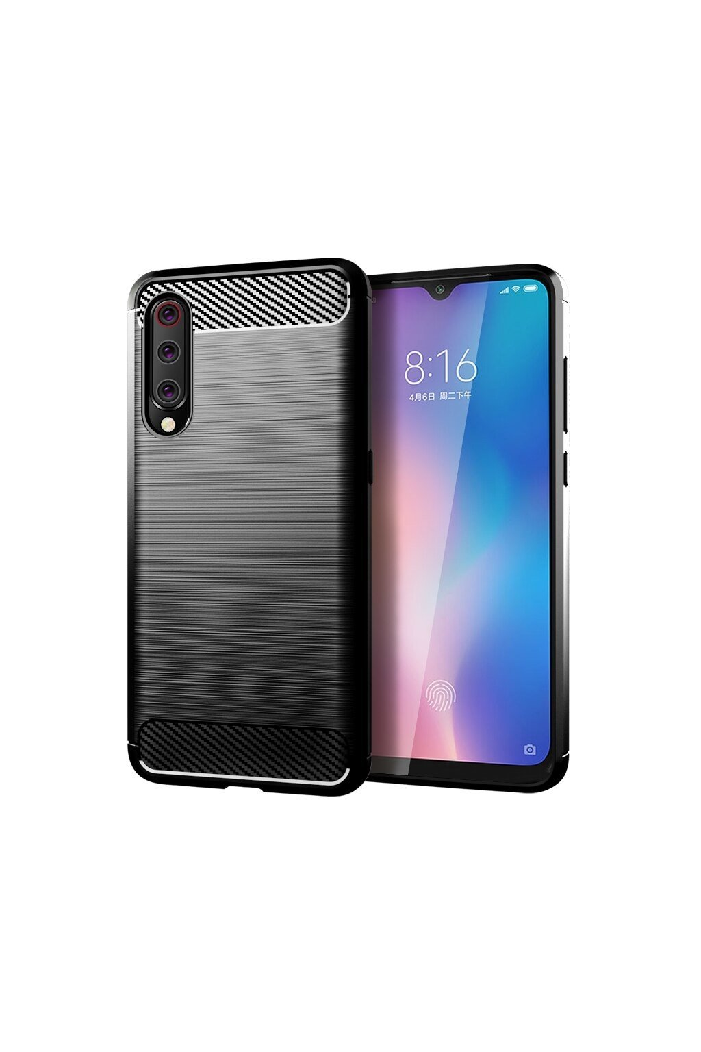 eng pl Carbon Case Flexible Cover TPU Case for Xiaomi Mi 9 Lite Mi CC9 black 52068 1