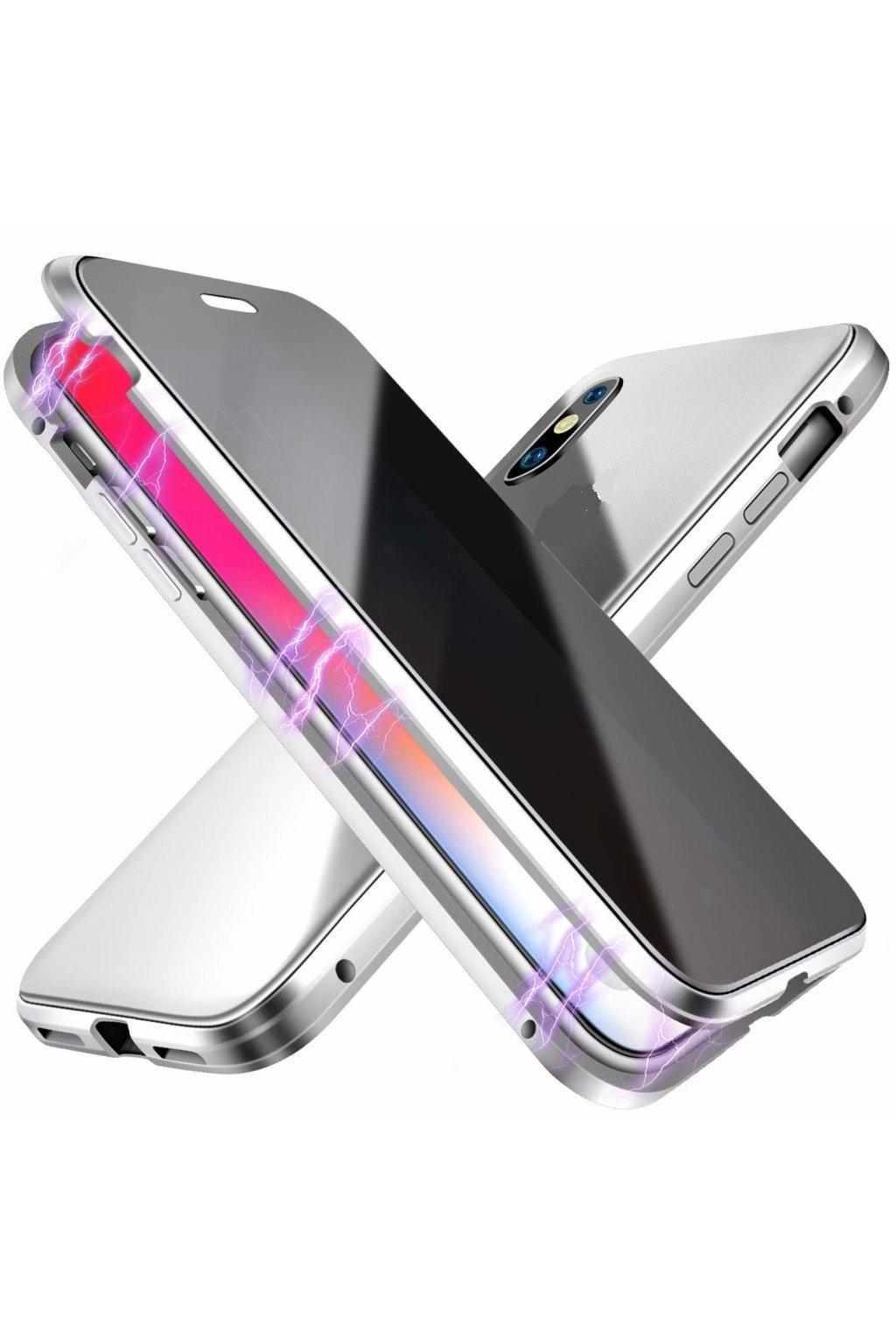 Magnetický obojstranný kryt s tvrdeným sklom na iPhone 11 Pro Max - strieborný