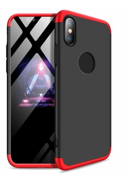 360 obojstranný kryt na iPhone XR - Červeno-čierny