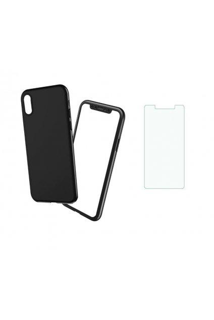 360 obojstranný kryt s TVRDENÝM SKLOM na Samsung Galaxy A8 2018 - čierny