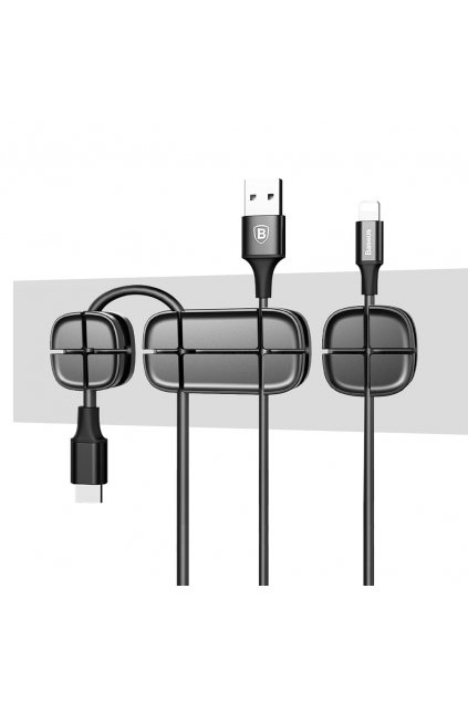 eng pl Baseus Cross Peas self adhesive Cable Organizer Cable Clip black 26180 1
