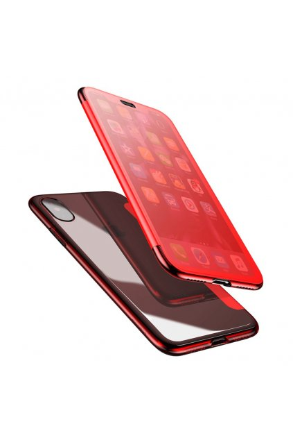 eng pl Baseus Touchable Case Gel TPU Flip Cover Gel with Tempered Glass Front Panel for iPhone X red WIAPIPHX TS09 48966 6