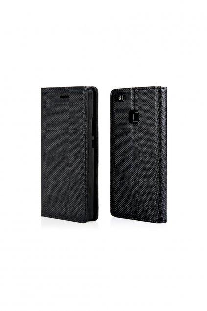 Magnetické flipové puzdro na Huawei P9 Lite - čierne