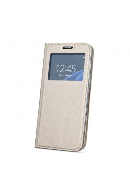 flipové pouzdro s okénkem na Huawei Y7 zlaté