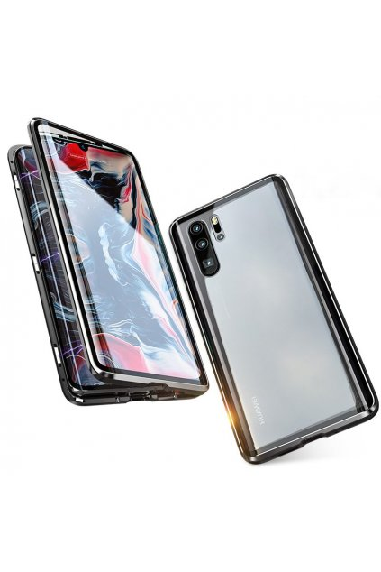 eng pl Wozinsky Full Magnetic Case Full Body Front and Back Cover tempered glass for Huawei P30 Pro black transparent 50436 1