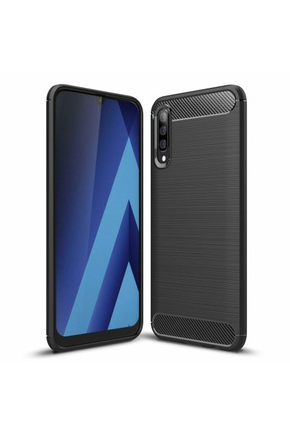 eng pl Carbon Case Flexible Cover TPU Case for Samsung Galaxy A70 black 50242 1