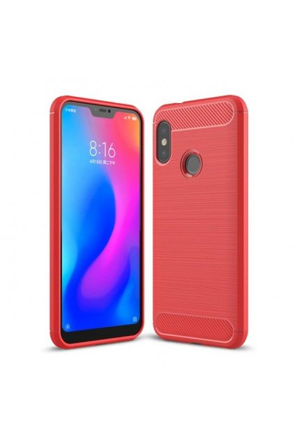 eng pl Carbon Case Flexible Cover TPU Case for Xiaomi Mi A2 Lite Redmi 6 Pro red 42481 1