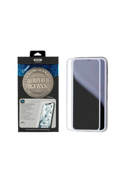 sklo remax iphone X full glue bílé