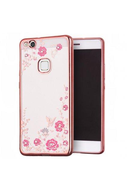 Rozkvetlý TPU kryt na Huawei P10 Lite růžový 1