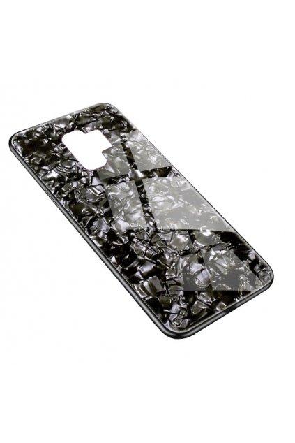 15783 6 skleneny luxusni marble kryt na samsung galaxy s9 plus cerny