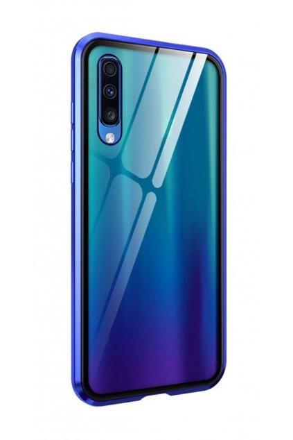 Magnetický obojstranný kryt s tvrdeným sklom na Samsung Galaxy A70 - modrý