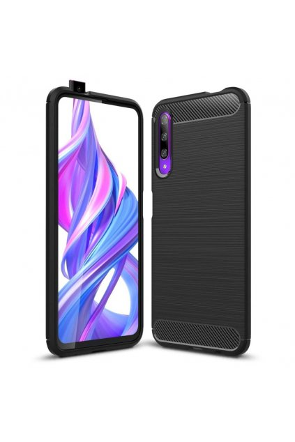 eng pl Carbon Case Flexible Cover TPU Case for Honor 9X black 52069 1