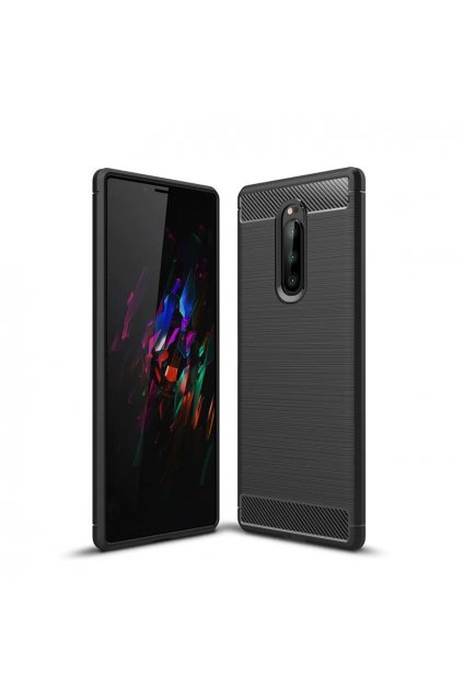 eng pl Carbon Case Flexible Cover TPU Case for Sony Xperia 1 black 48053 1