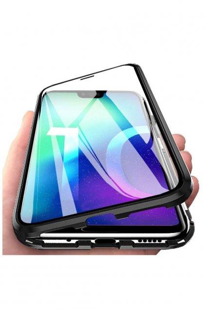 Magnetický obojstranný kryt s tvrdeným sklom na Huawei P20 Pro - čierny