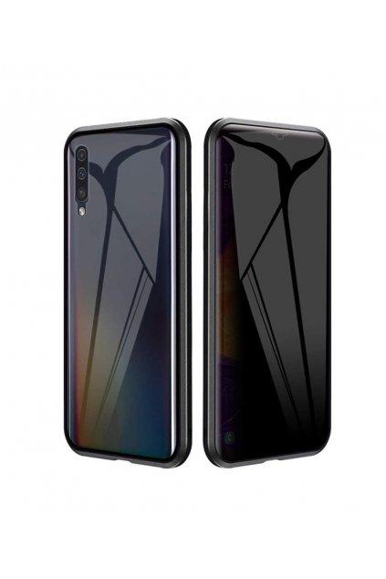 Magnetický obojstranný kryt s tvrdeným sklom na Samsung Galaxy A70 - čierny