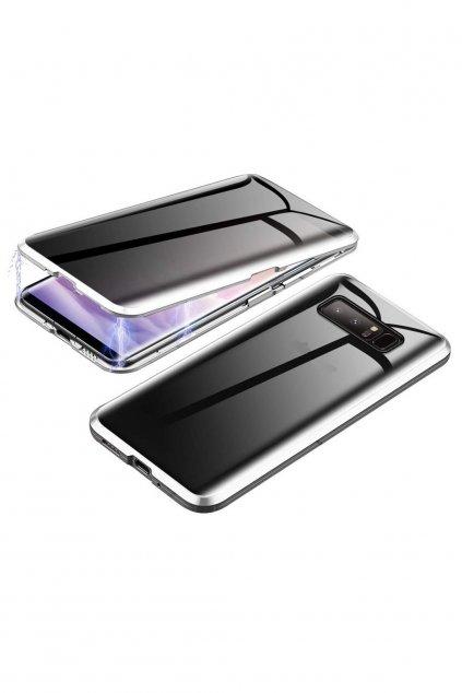 Magnetický obojstranný kryt s tvrdeným sklom na Samsung Galaxy S10 Plus - strieborný