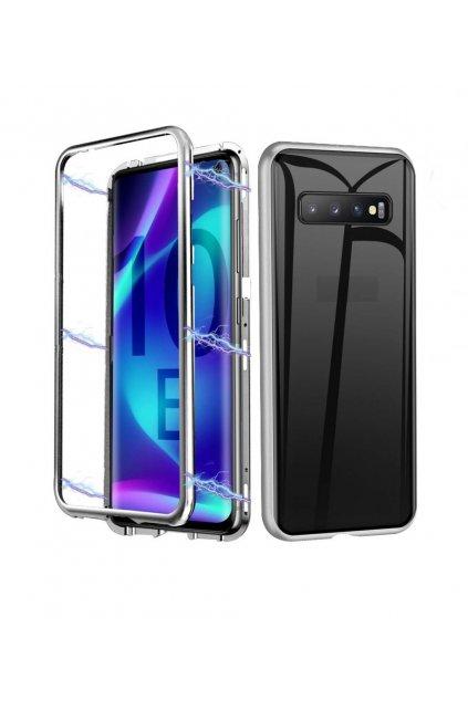 Magnetický obojstranný kryt s tvrdeným sklom na Samsung Galaxy S10e  - strieborný