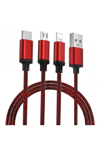 eng pl Remax Agile 3in1 RC 131th Nylon Braided USB micro USB Lightning USB C Cable 2 8A 1m red PD B31th red 54766 5