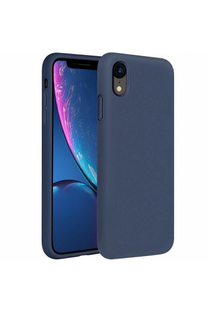 eng pl Silicone Case Soft Flexible Rubber Cover for iPhone XR dark blue 45449 1