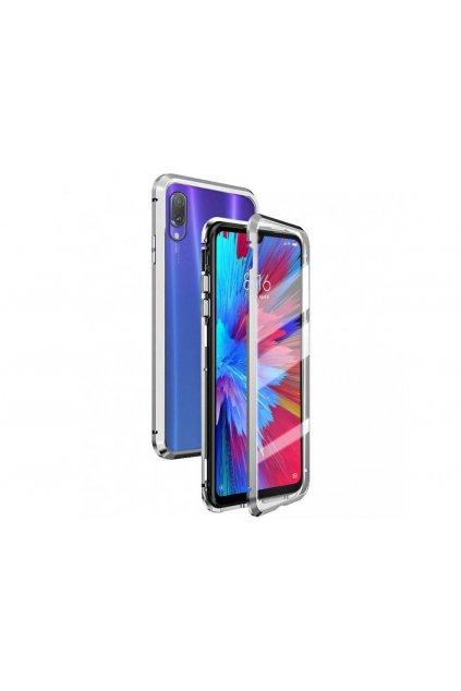 Magnetický obojstranný kryt na iPhone XR (bez predného tvrdeného skla) - strieborný