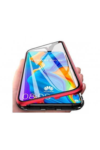 29597 magneticky oboustranny kryt na iphone xs max bez tvrzeneho skla cerveny