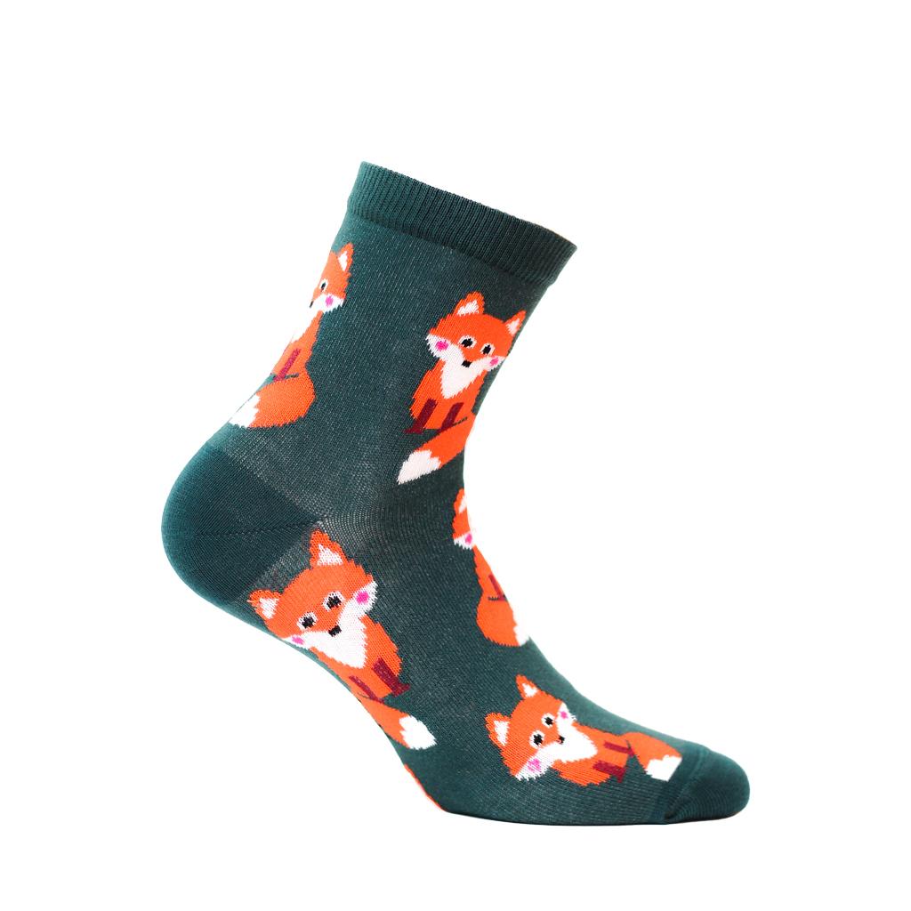 ponožky vzor WOLA LIŠKY zelené