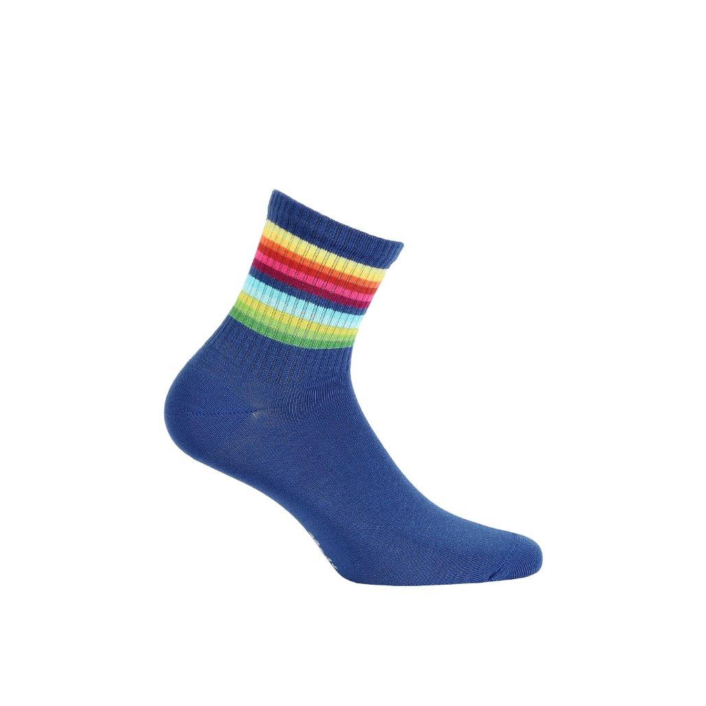 ponožky vzor WOLA BARVY DUHY modré