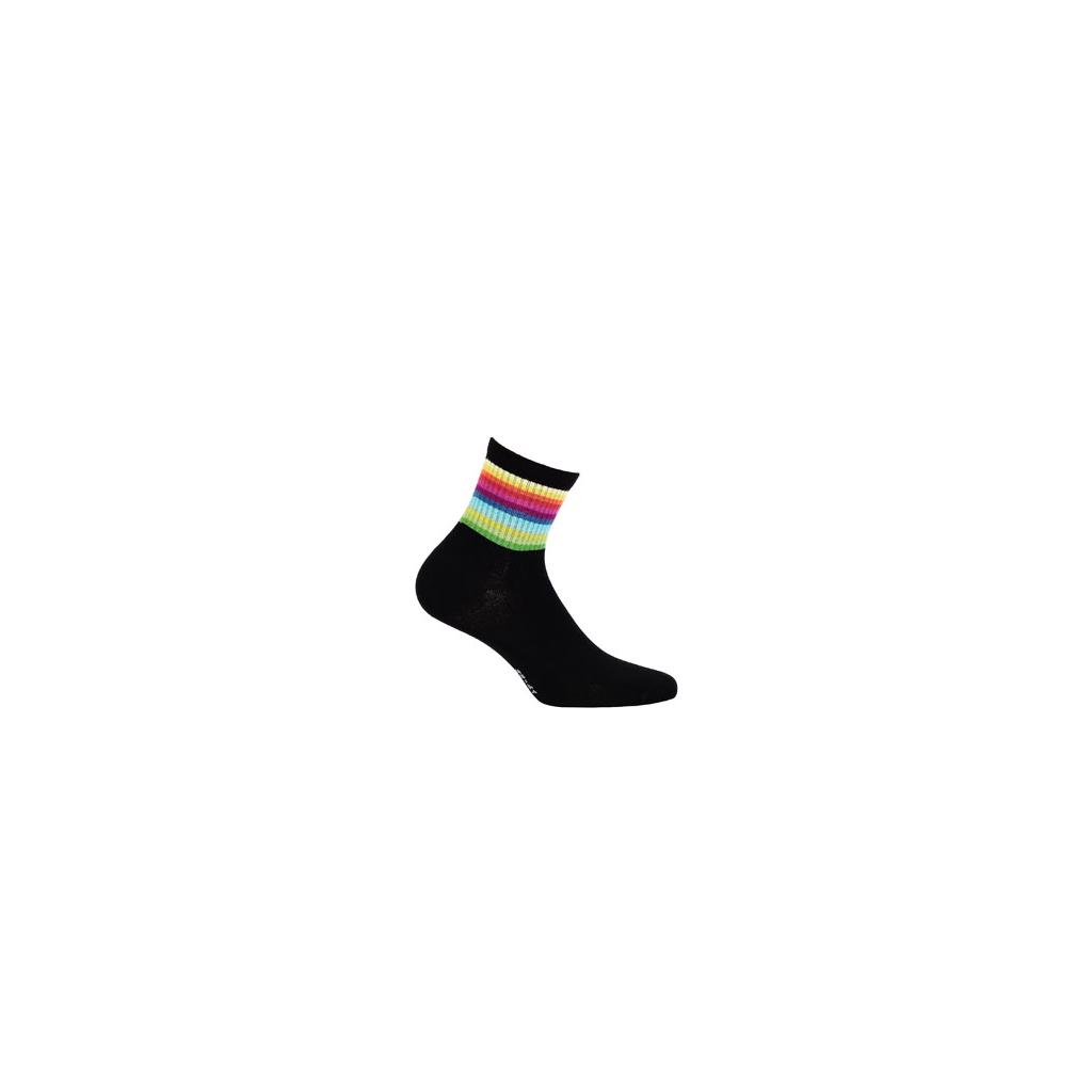 dětské ponožky vzor WOLA BARVY DUHY černé