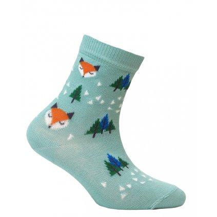 dětské ponožky vzor WOLA LIŠKY tyrkys