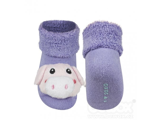 Kojenecké chrastítkové ponožky SOXO PRASÁTKO