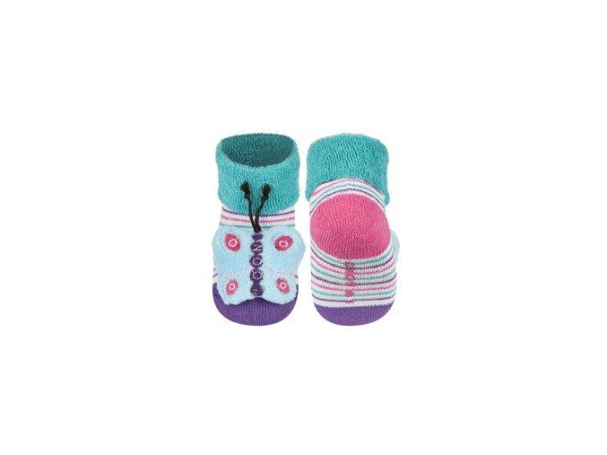 Kojenecké chrastítkové ponožky SOXO MOTÝL