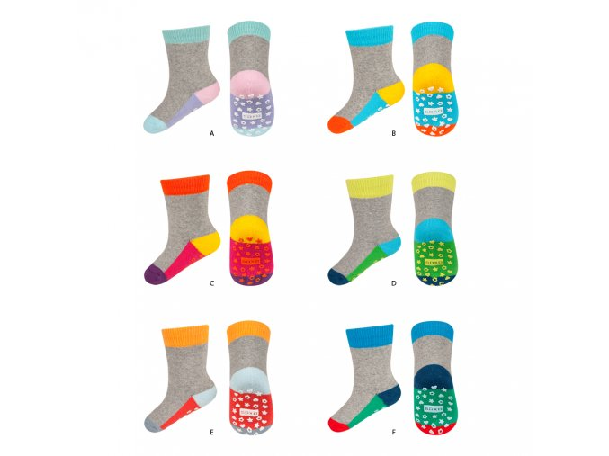 eng pl SOXO terry socks with colorful sole ABS 18926 1