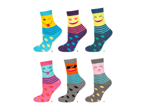 eng pl SOXO Childrens terry socks with happy faces 18934 1