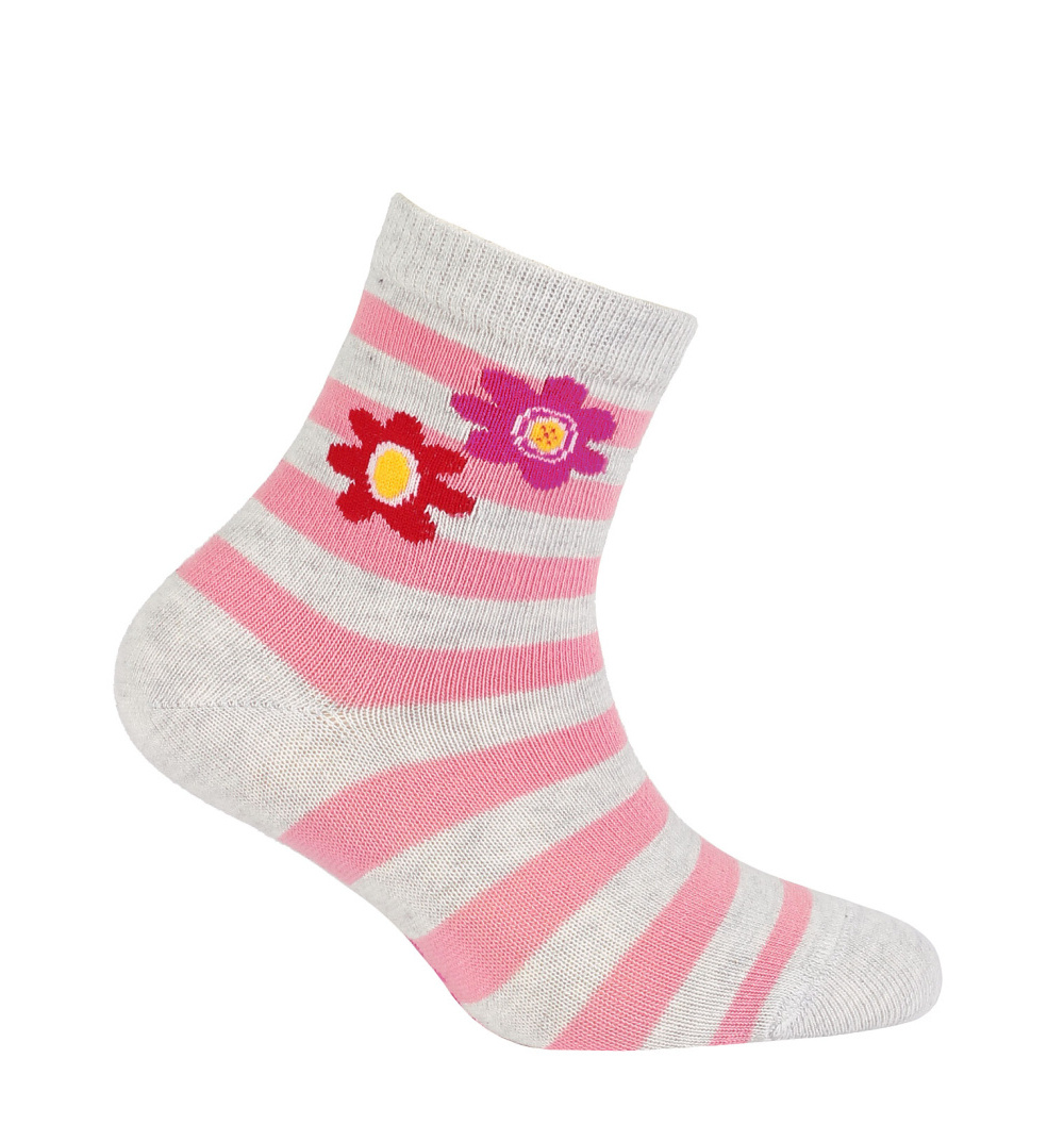 dětské ponožky vzor WOLA KYTIČKY šedé 21-23