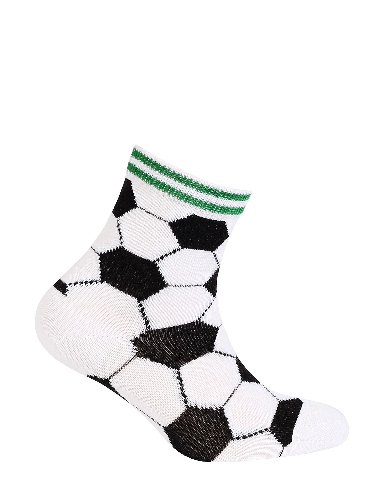 dětské ponožky vzor WOLA FOTBALOVÉ MÍČE bílé 12-14